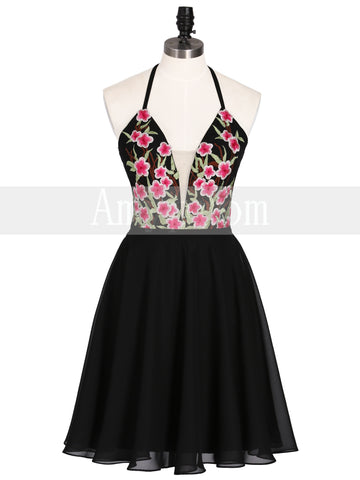 Chic A-line Black Cute Embroidery Homecoming Dresses Party Cocktail Dress AMY2028