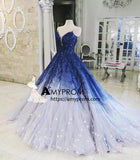A-line Ombre Prom Dress With Applique Royal Blue Prom Dresses Long Evening Dress AMY2030