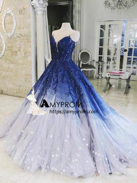 a674223a548 A-line Ombre Prom Dress With Applique Royal Blue Prom Dresses Long Eve –  AmyProm