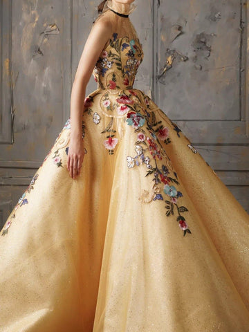 Chic Ball Gowns Prom Dresses High Neck Gold Sparkly Long Prom Dress Evening Dress AMY2032