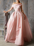2018 Chic A-line Off-the-Shoulder Pink Long Prom Dresses Unique Applique Prom Dress Evening Dresses|Amyprom