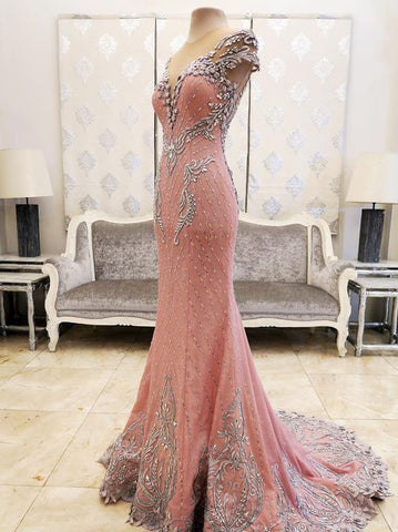 Chic Trumpet/Mermaid Pink Prom Dresses Scoop Sparkly Long Prom Dress Evening Dress AMY2034