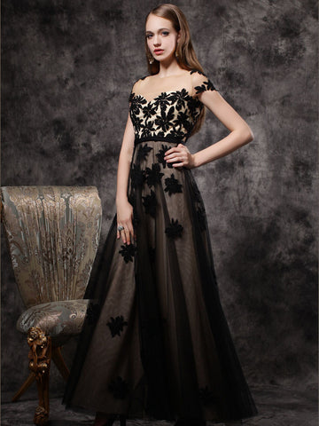 Chic Black Prom Dresses Long Scoop Modest Long Prom Dress With Sleeve AMY203