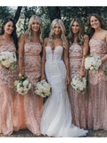 Chic Trumpet/Mermaid Strapless Pink Lace Bridesmaid Dresses Prom Dress AMY2040