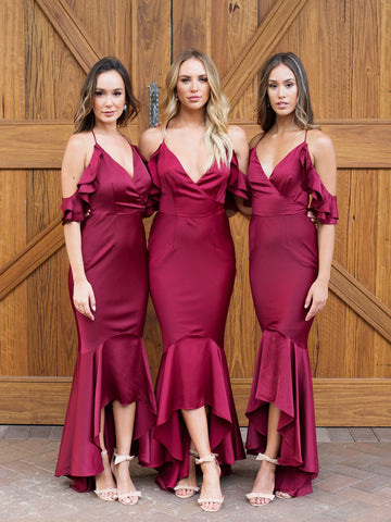 Chic Burgundy Spaghetti Straps Bridesmaid Dress Mermaid High Low Bridesmaid Dresses AMY2042