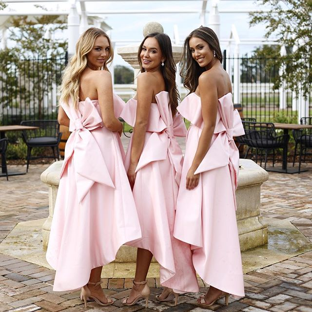 c14d4f015c1 ... Chic Pink Strapless Bridesmaid Dress A-line High Low Bowknot Bridesmaid  Dresses AMY2044 ...