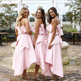 Chic Pink Strapless Bridesmaid Dress A-line High Low Bowknot Bridesmaid Dresses AMY2044