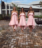 Chic Pink Strapless Bridesmaid Dress A-line High Low Bowknot Bridesmaid Dresses AMY2047