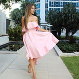 Chic Pink Strapless Bridesmaid Dress A-line High Low Bowknot Bridesmaid Dresses AMY2049