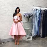 Chic Pink Strapless Bridesmaid Dress A-line High Low Bowknot Bridesmaid Dresses AMY2052