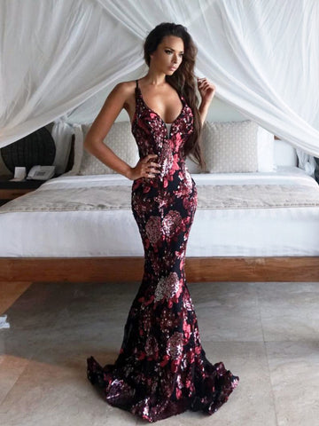 Mermaid Prom Dress Spaghetti Straps Sequins Floral Long Prom Dresses Evening Dress AMY2045