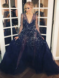 Chic Dark Navy Prom Dress Long Sleeve Long Sparkly Prom Dresses Evening Dress AMY2050