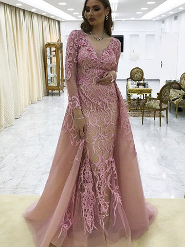 Chic Pink Prom Dress Long Sleeve Applique Prom Dresses Evening Dress AMY2052