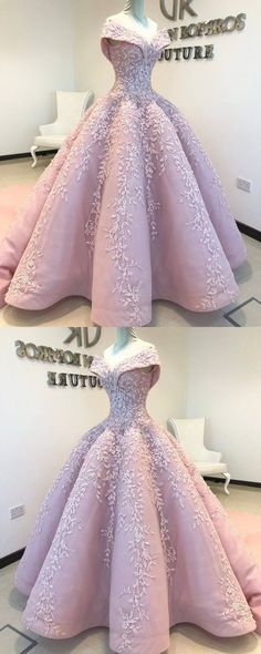 3c736a63a6 ... 2018 Chic Ball Gowns Off-the-Shoulder Prom Dresses Pink Lace Prom Dress  Evening ...