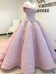 2018 Chic Ball Gowns Off-the-Shoulder Prom Dresses Pink Lace Prom Dress Evening Dresses AMY2055