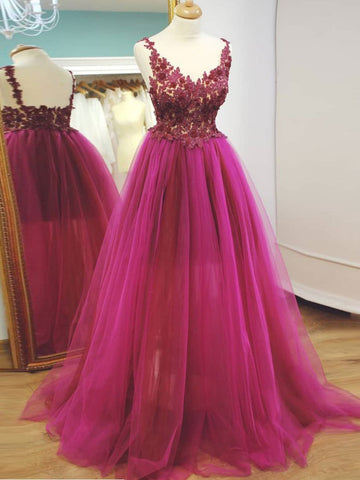 2018 Chic A-line V neck Prom Dresses Fuchsia Prom Dress Evening Dresses AMY2058