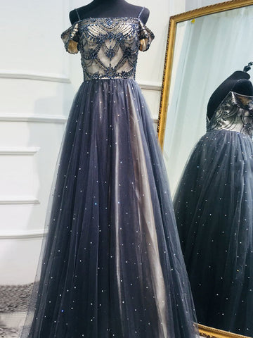 Chic Dark Navy Prom Dress Spaghetti Straps Beading Prom Dresses Evening Dress AMY2060