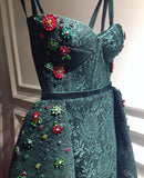 2018 Chic A-line Dark Green Prom Dresses Lace African Prom Dress Evening Dresses AMY2064