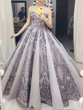 2018 Chic Ball Gowns Silver Prom Dresses Sparkly African Prom Dress Evening Dresses AMY2065