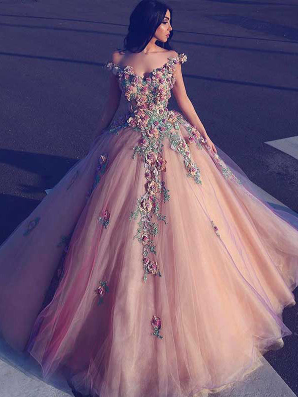 2018 Chic Ball Gowns Pink Prom Dresses With Applique African Prom Dress Evening Dresses AMY2067