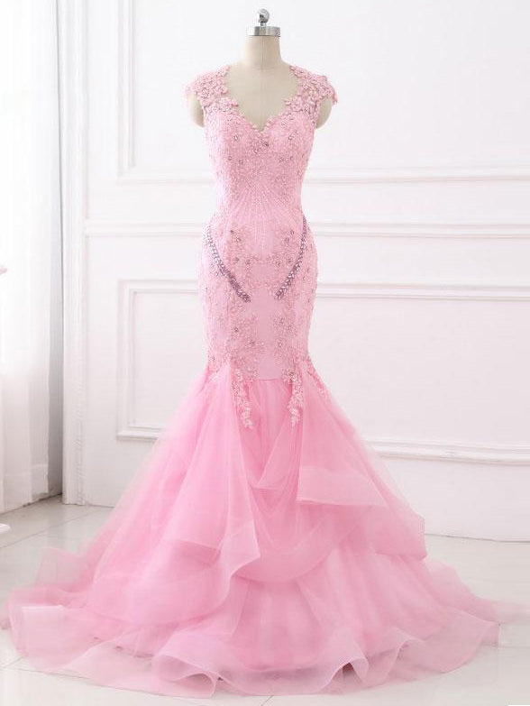 2018 Chic Trumpet/Mermaid Pink Prom Dresses With Lace Beading Prom Dress Evening Dresses AMY2075