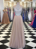 2018 Chic A-line Scoop Beading Prom Dresses Unique Long Prom Dress Evening Dresses AMY2081