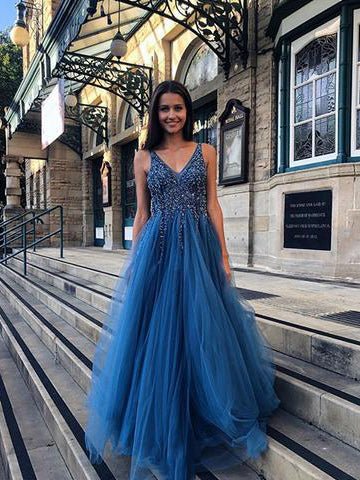 2018 Chic A-line Blue Prom Dresses V neck Backless Long Prom Dress Evening Dresses AMY2086
