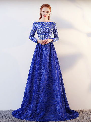 2018 Blue Prom Dresses Long Bateau Lace Long Sleeve Prom Dress Evening Dresses AMY208