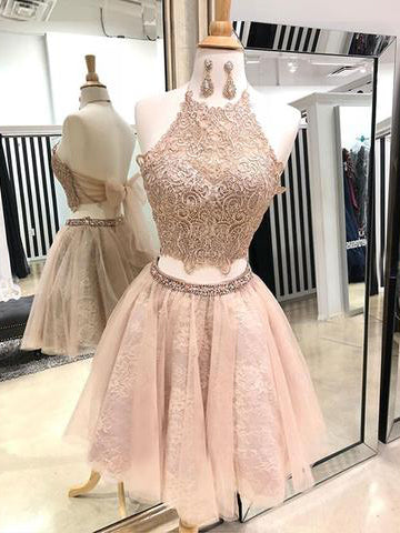 2018 Chic Two Pieces Homecoming Dresses Lace Short Prom Dress Halter Homecoming Dress AMY2091