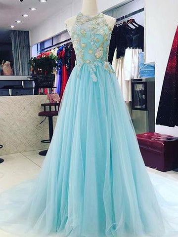 2018 Chic A-line Scoop Blue Prom Dresses Unique Long Prom Dress Evening Dresses AMY2092