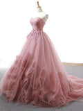 2018 Chic A-line Sweetheart Pink Prom Dresses Unique Long Prom Dress Evening Dresses AMY2096