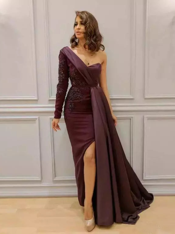 2018 Chic One SHoulder Prom Dresses Long Sleeve Burgundy Long Prom Dress Evening Dresses AMY2103