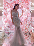 2018 Chic Mermaid Sparkly Silver Prom Dresses Beading Long Prom Dress Evening Dresses AMY2108