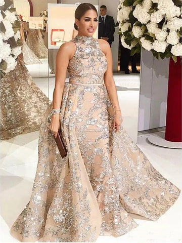 2018 Chic A-line High Neck Sequins Prom Dresses Unique Long Prom Dress Evening Dresses AMY2112