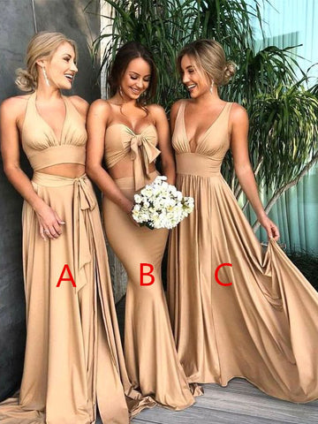Chic A-line Two Pieces Hlter Champagne Bridesmaid Dresses Simple Cheap Prom Dress Brides Gowns AMY2117
