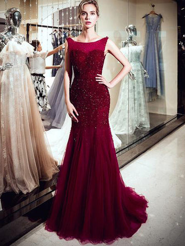 2018 Chic Trumpet/Mermaid Scoop Burgundy Prom Dresses Unique Lace Long Prom Dress Evening Dresses AMY2121