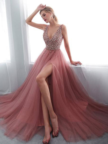 2018 Chic A-line Pink Prom Dresses V neck Beading Long Prom Dress Evening Dresses AMY2122