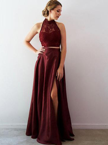 2018 Chic Two Pieces Burgundy Prom Dresses Lace Long Prom Dress Evening Dresses AMY2127