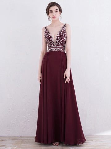 2018 Chic A-line Burgundy Prom Dresses Beading Long Prom Dress Evening Dresses AMY2128