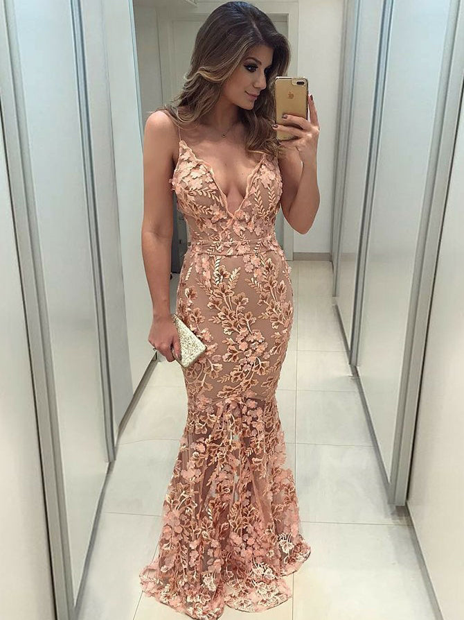 2018 Chic Mermaid Lace Spaghetti Straps Prom Dresses Pink Long Prom Dress Evening Dresses AMY2131