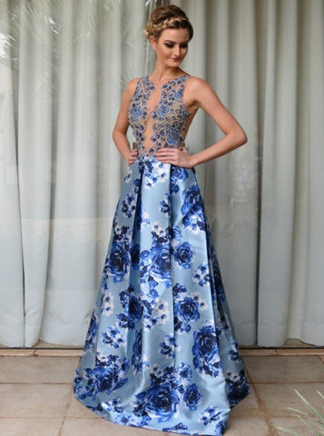 2018 Chic A-line Scoop Prom Dresses Blue Beading Long Prom Dress Evening Dresses AMY2138