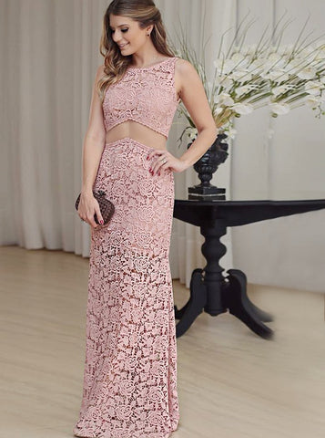 2018 Chic Mermaid Pink Prom Dresses Lace Long Prom Dress Evening Dresses AMY2140