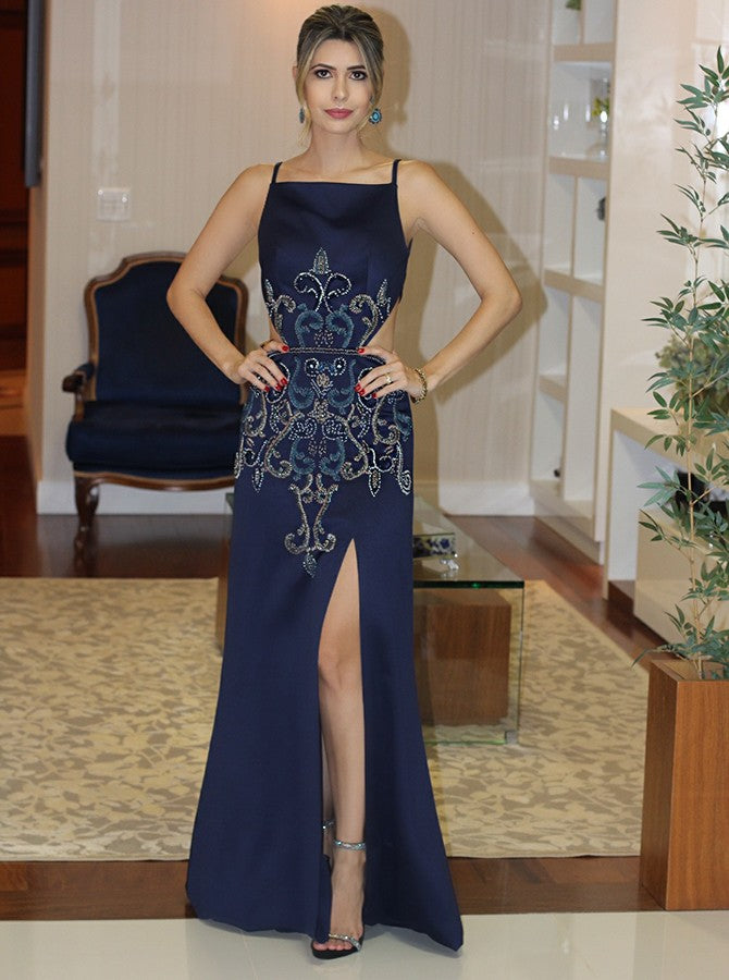 2018 Chic Sheath/Column Dark Navy Prom Dresses With Slit Sexy Long Prom Dress Evening Dresses AMY2141