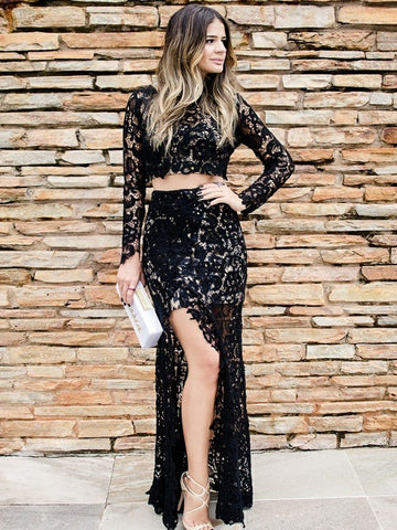 2018 Chic Two Pieces Black Lace Prom Dresses With Slit Long Sleeve Long Prom Dress Evening Dresses AMY2144