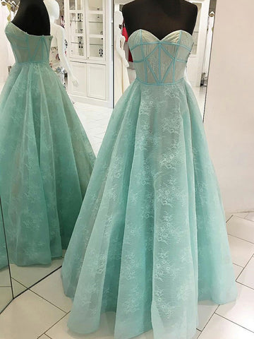 2018 Chic A-line Sweetheart Prom Dresses With Lace Long Prom Dress Evening Dresses AMY2145