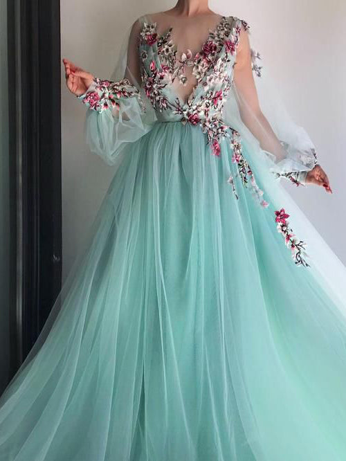2018 Chic A-line Scoop Prom Dresses With Floral Long Prom Dress Evening Dresses AMY2146