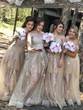 Chic A-line Sweetheart Champagne Bridesmaid Dresses Applique Cheap Prom Dress Brides Gowns AMY2151