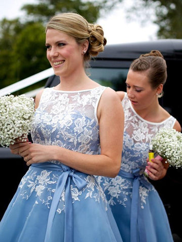 Chic A-line Bateau Blue Bridesmaid Dresses Applique Cheap Prom Dress Brides Gowns AMY2152
