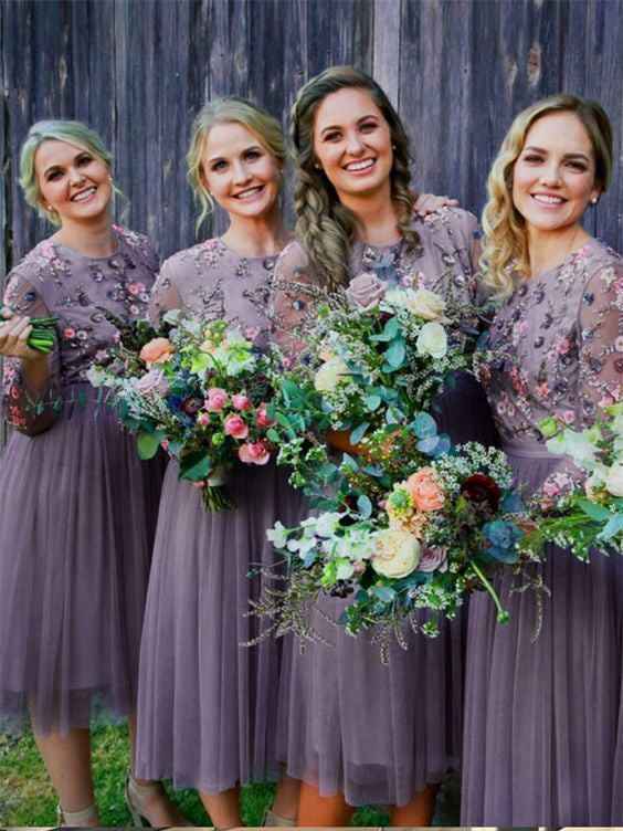Chic A-line Scoop Long Sleeve Bridesmaid Dresses Applique Tea Length Cheap Prom Dress Brides Gowns AMY2155