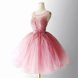 2018 Chic A-line Scoop Lace Homecoming Dresses Pink Short Prom Dress Cute Homecoming Dress AMY2157